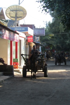 Travel by horse and carriage on the Gili Islands and Lombok between the shore and the bus stop.