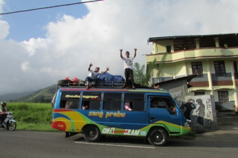 The local bus in Moni - dance party on wheels. The amazing thing is that all ages just sit there as if the music isn't even playing.